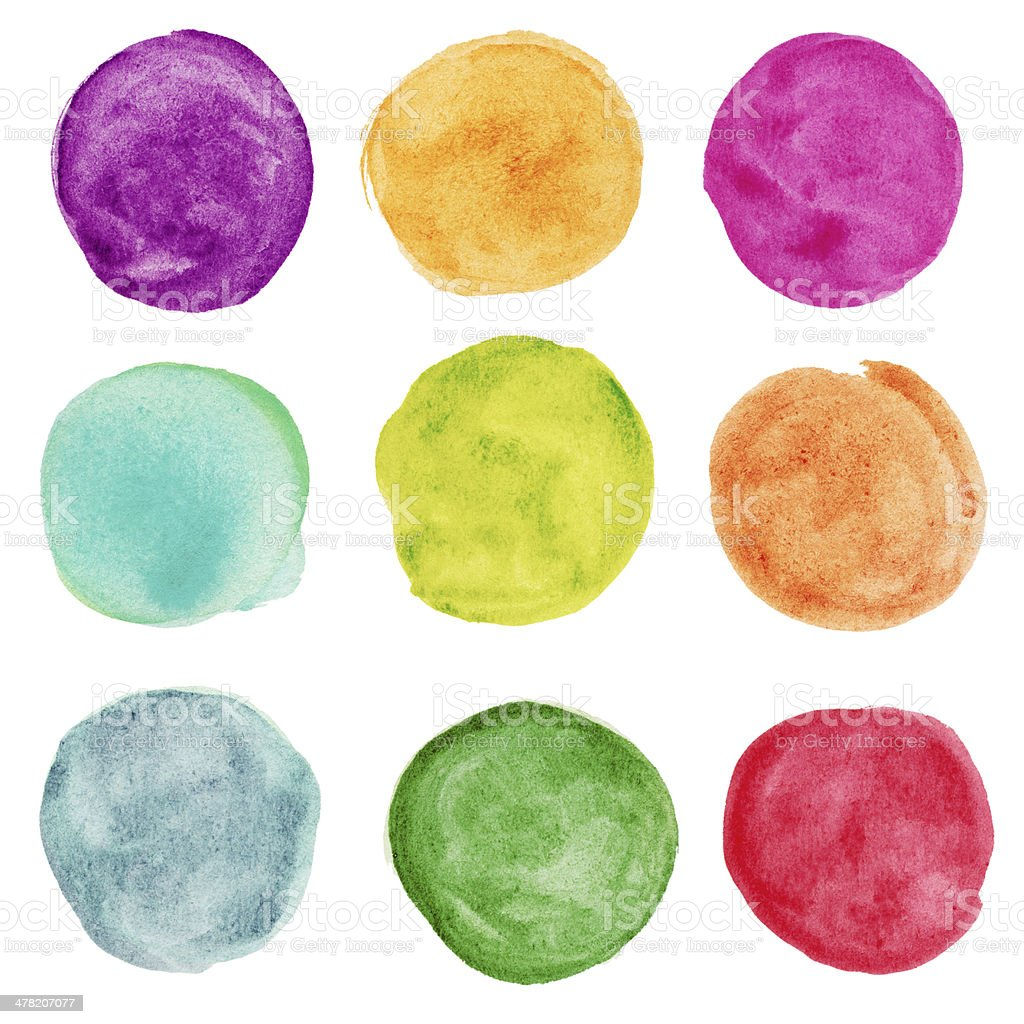set of colorful watercolor circle. Design elemnts stock photo