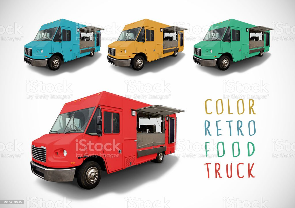 Set of colour food truck, isolated stock photo