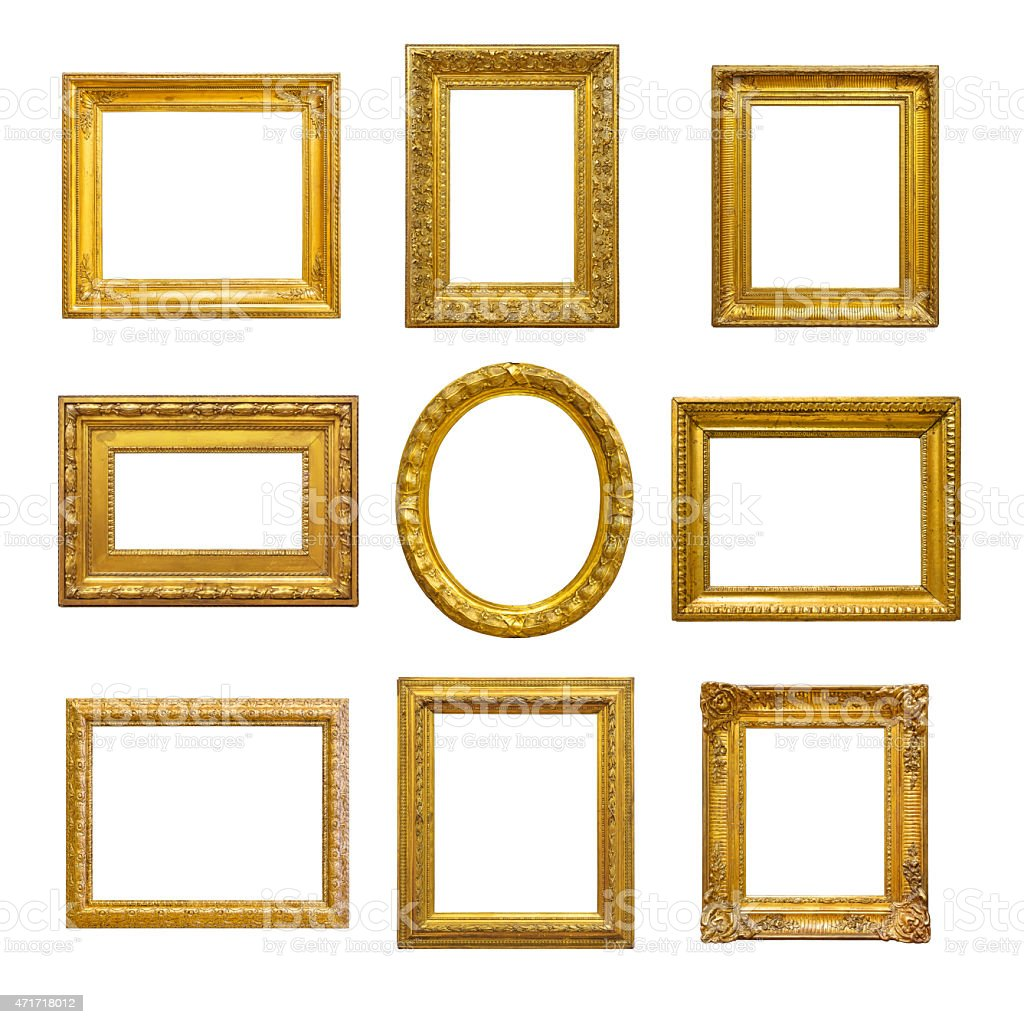 Set of Colton vintage frames on a white backdrop stock photo