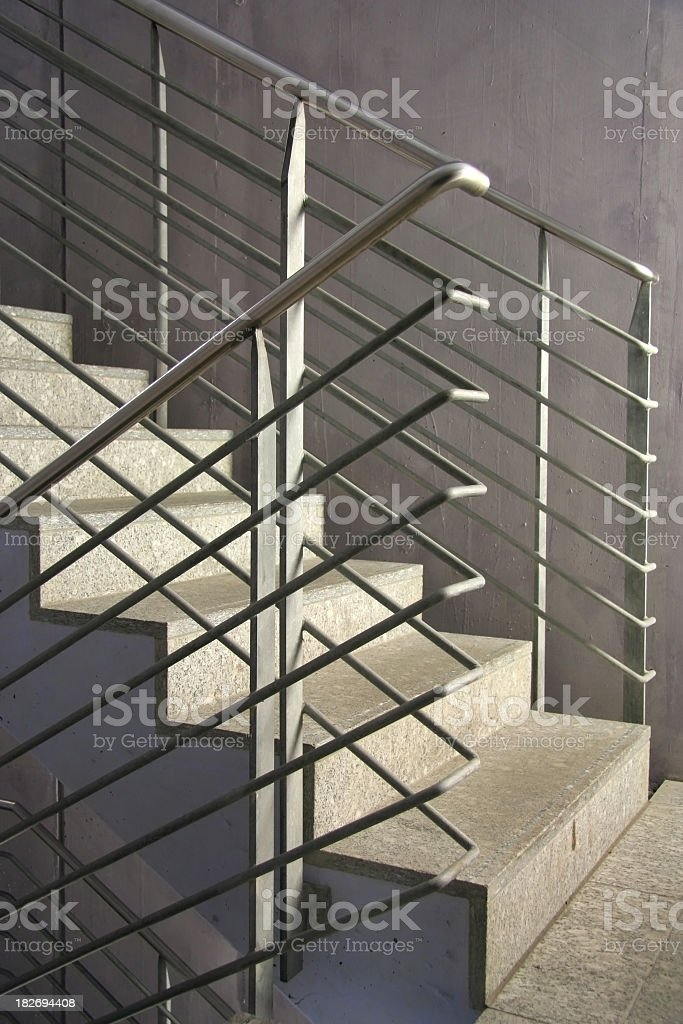 Set of concrete stairs with metal bannister royalty-free stock photo