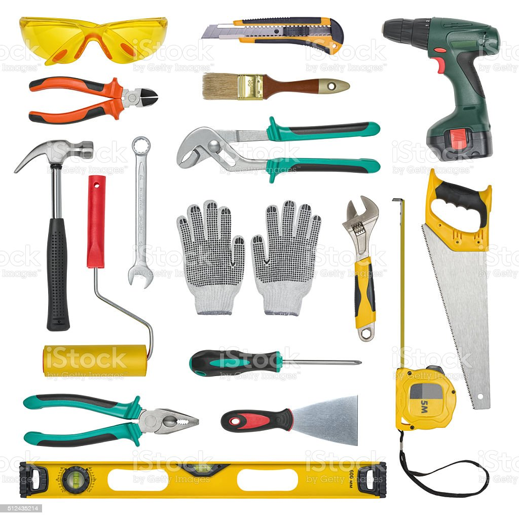 Set of construction tools isolated on a white background. Level stock photo