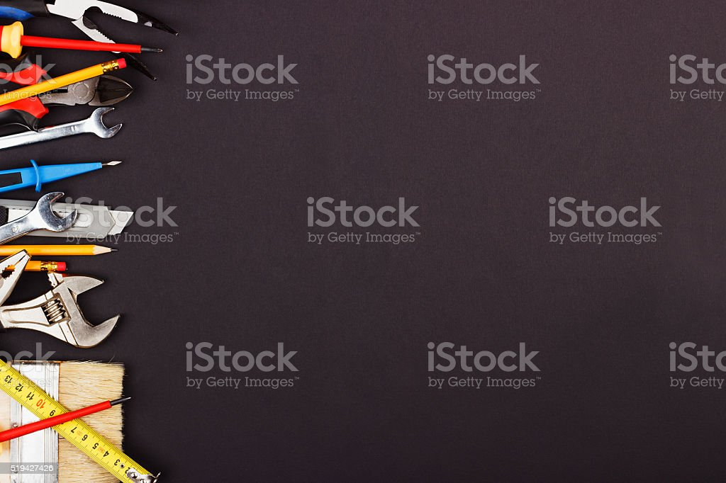 Set of construction tools stock photo