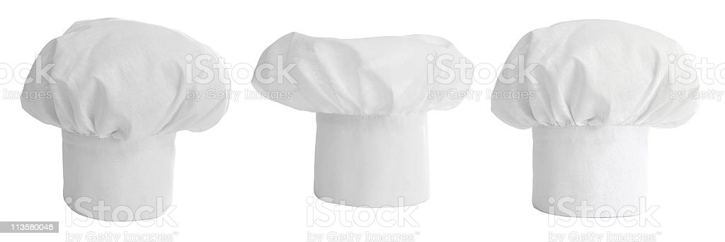 set of cook hat or cap isolated stock photo