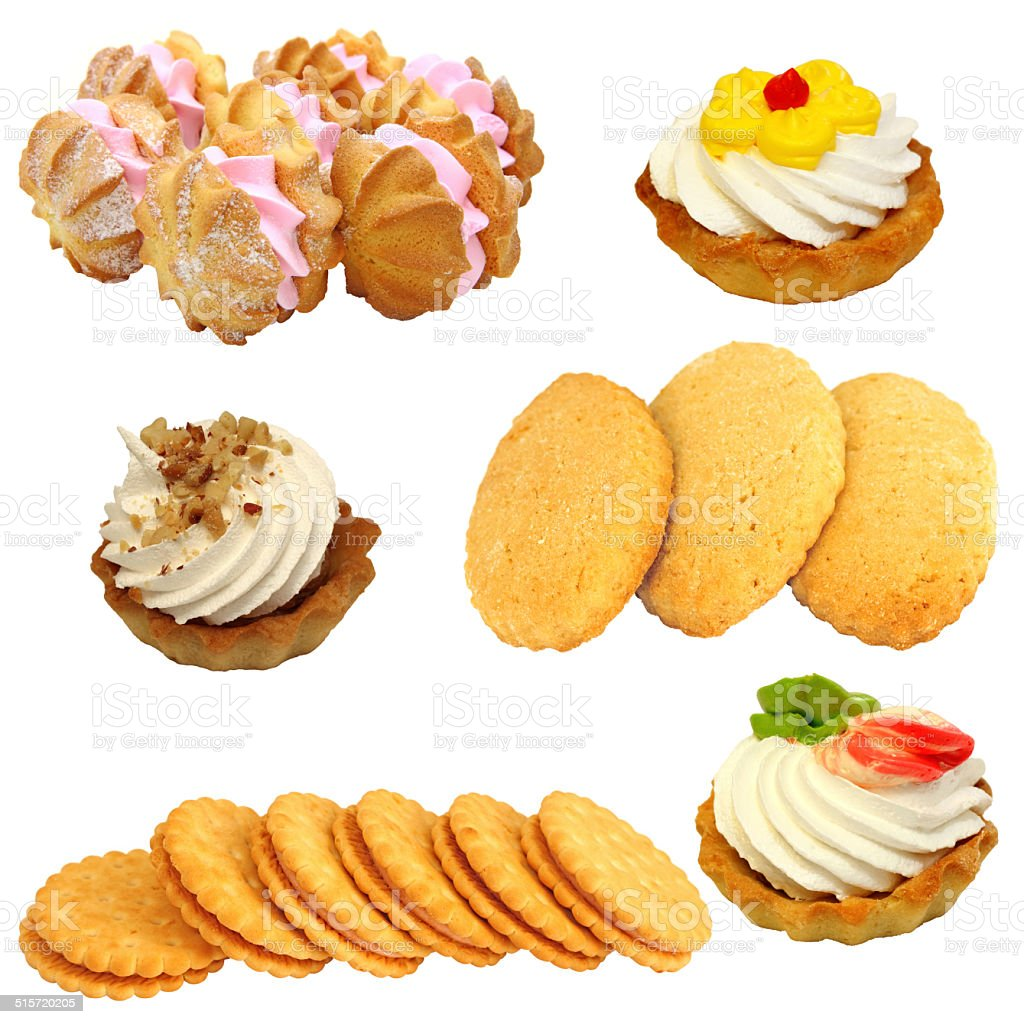 Set of cookies  the various form on a white background stock photo