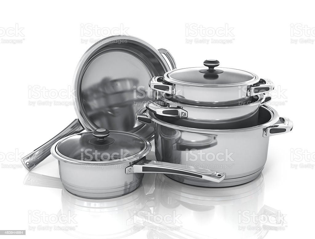 Set of cooking pots. stock photo