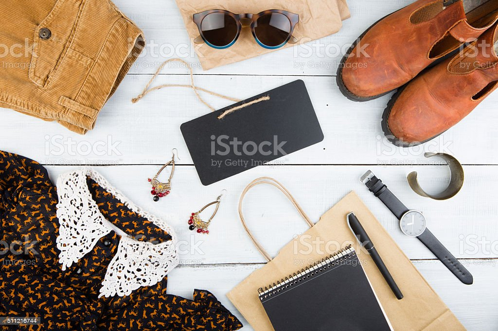 set of cool woman stuff and blank signboard stock photo