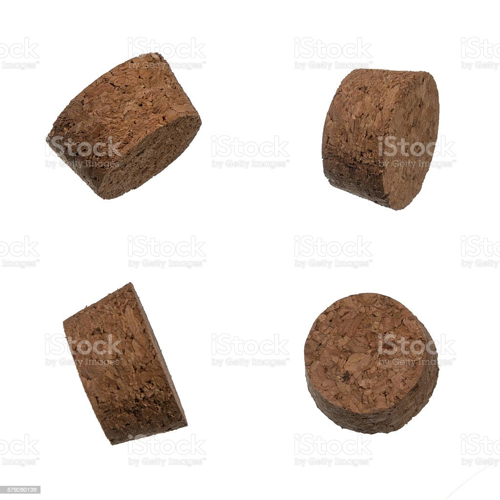 Set of cork bungles isolated over white stock photo