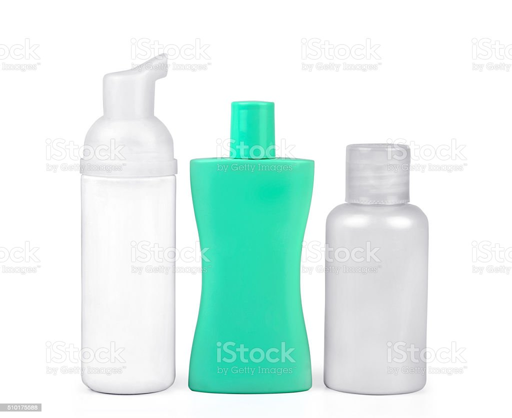 Set of cosmetic bottles isolated on white stock photo