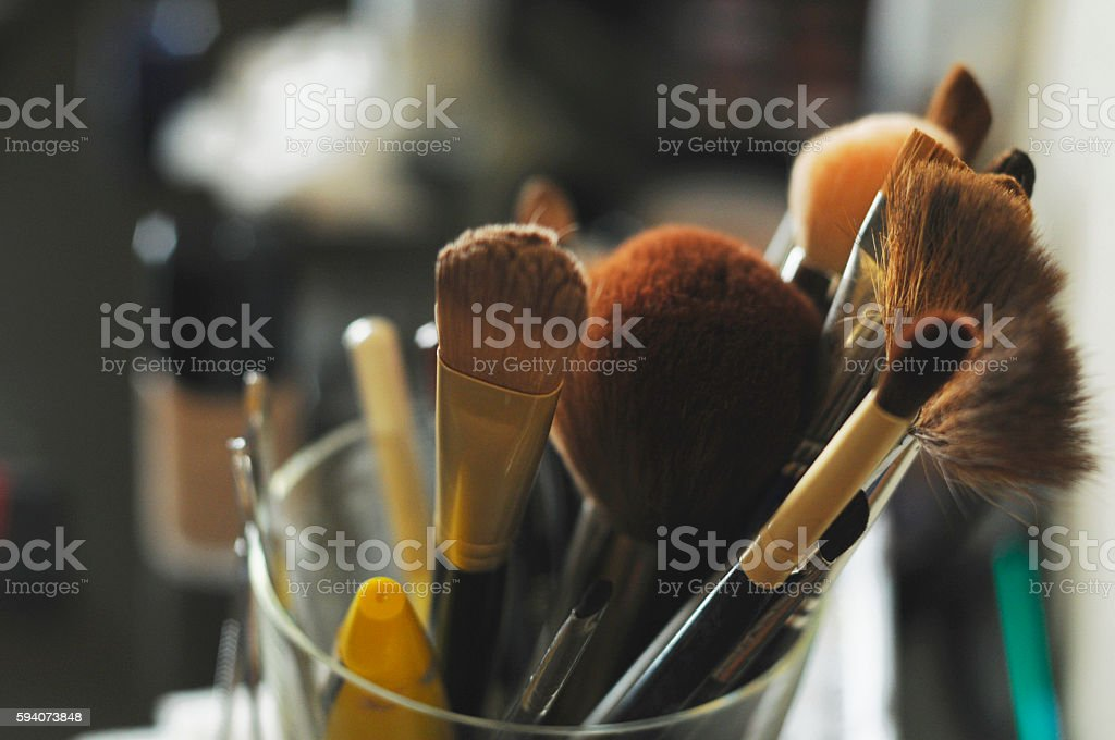 Set Of Cosmetic Brushes stock photo