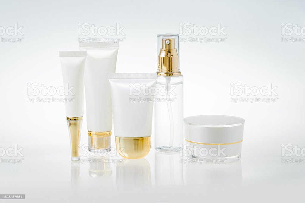 Set of cosmetic containers stock photo