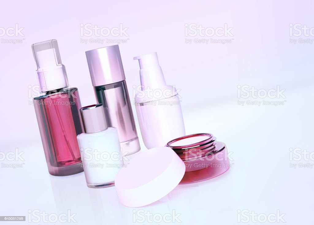 Set of cosmetic cream. Daily, beauty care cosmetic. stock photo