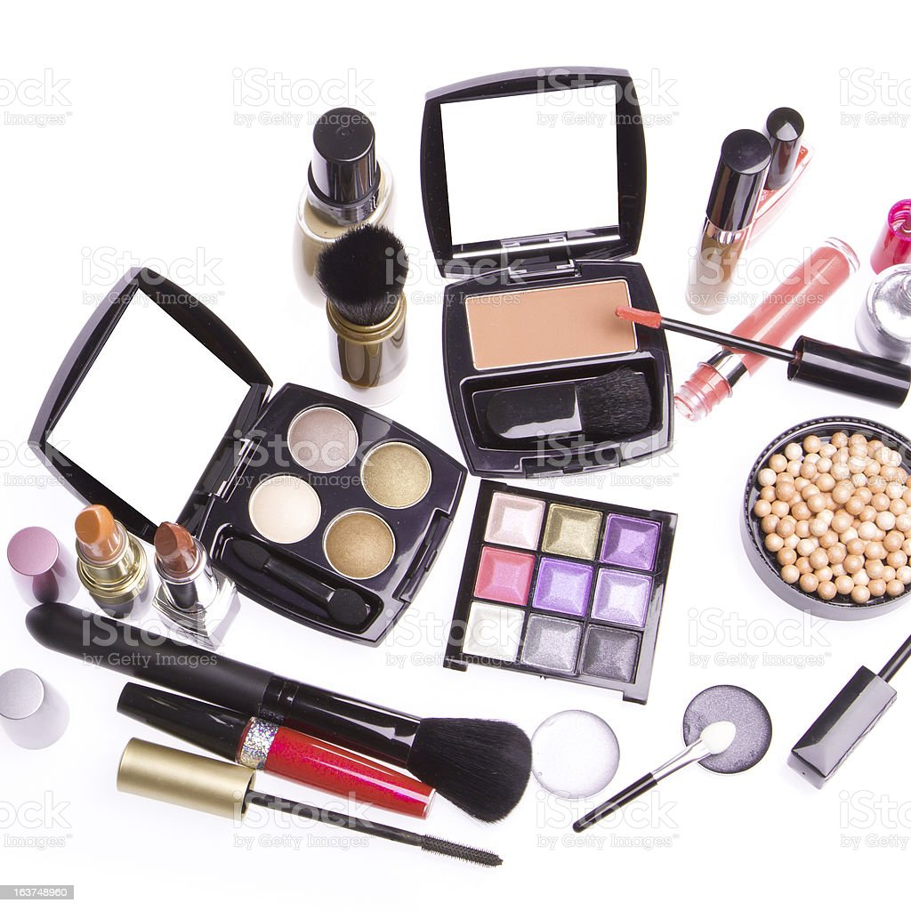 set of cosmetic makeup products royalty-free stock photo
