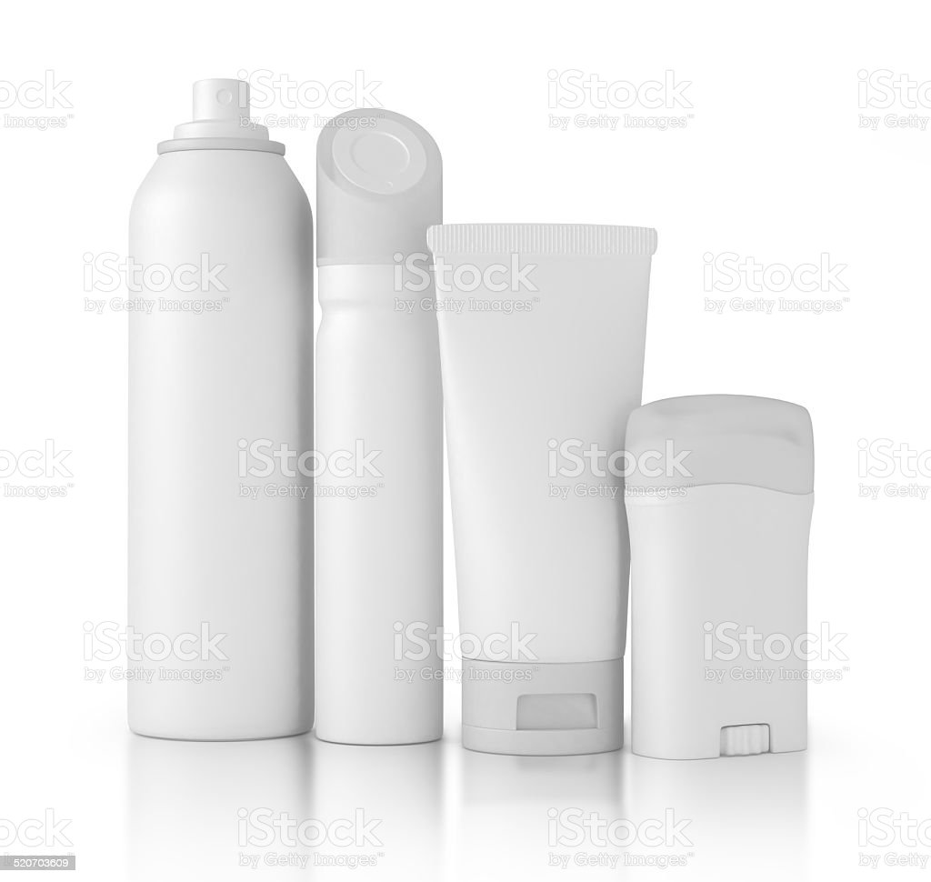 Set of cosmetic products in bottles. stock photo