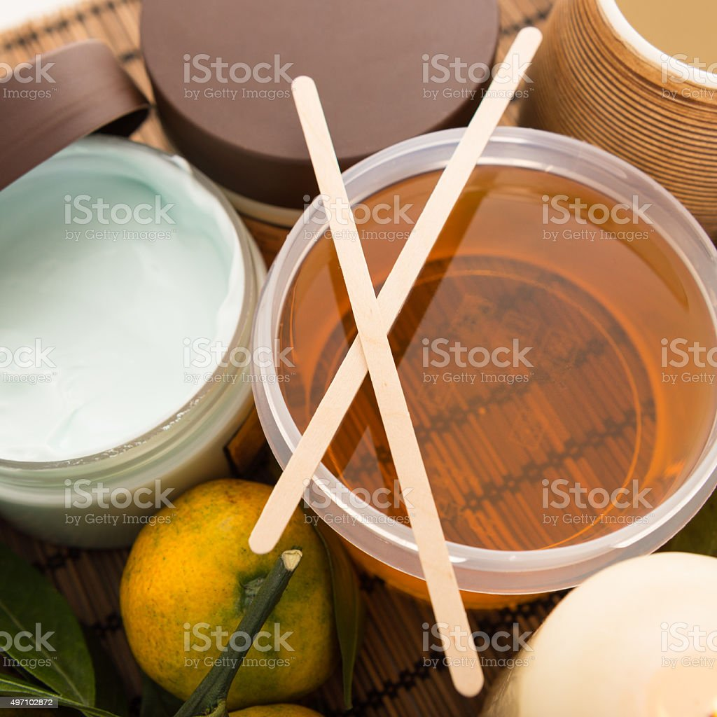 Set of cosmetic skin care in the beauty salon stock photo