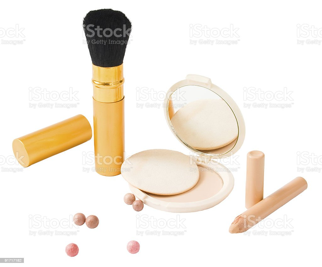 Set of cosmetics and make-up tools isolated royalty-free stock photo