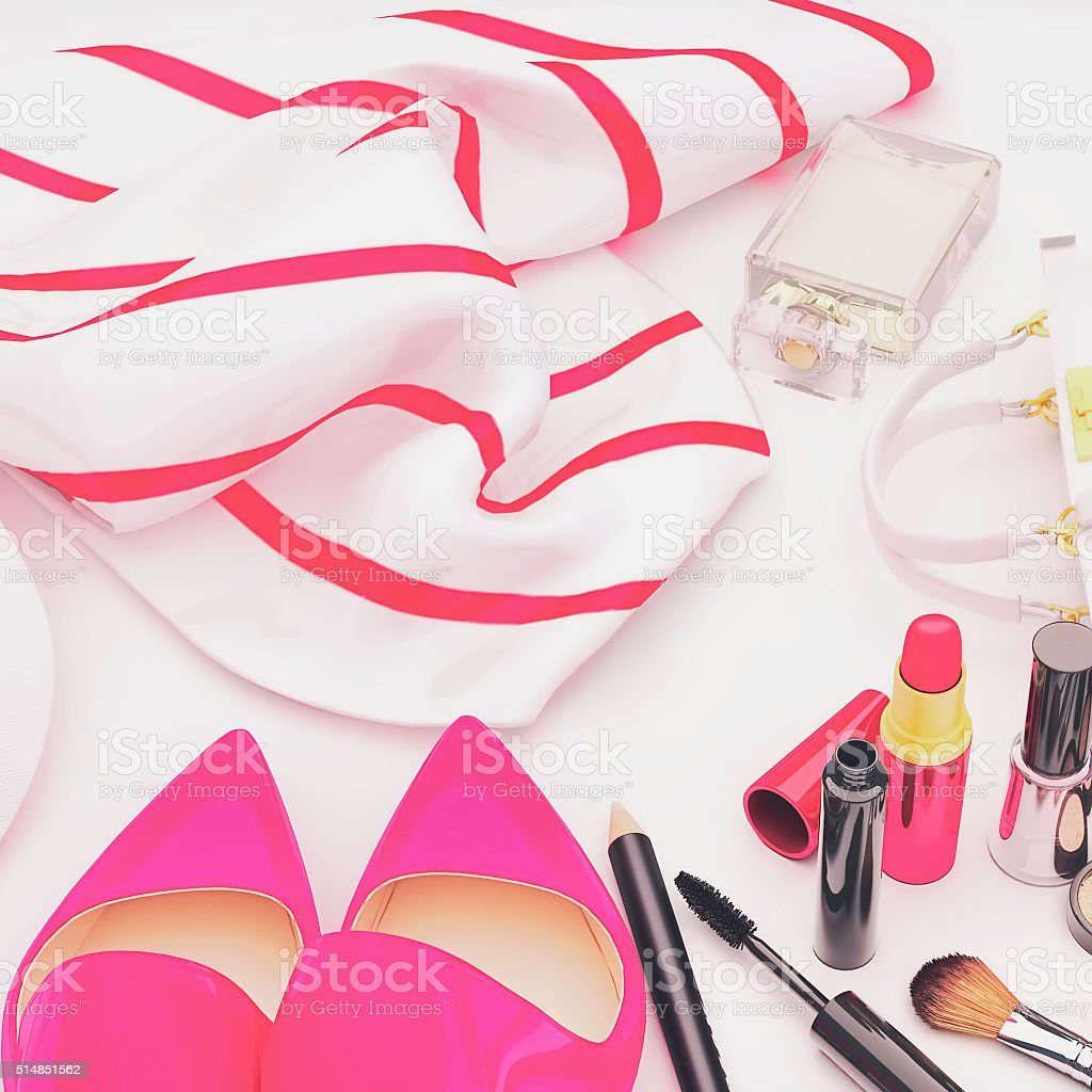 Set of cosmetics and various accessories for women on. stock photo