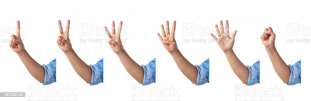 set of counting front hands sign in a jean shirt. stock photo