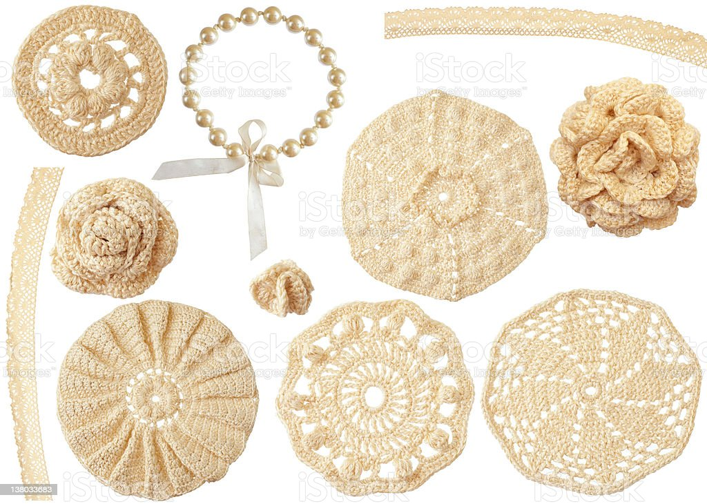 set of crochet handmade motifs isolated on white royalty-free stock photo