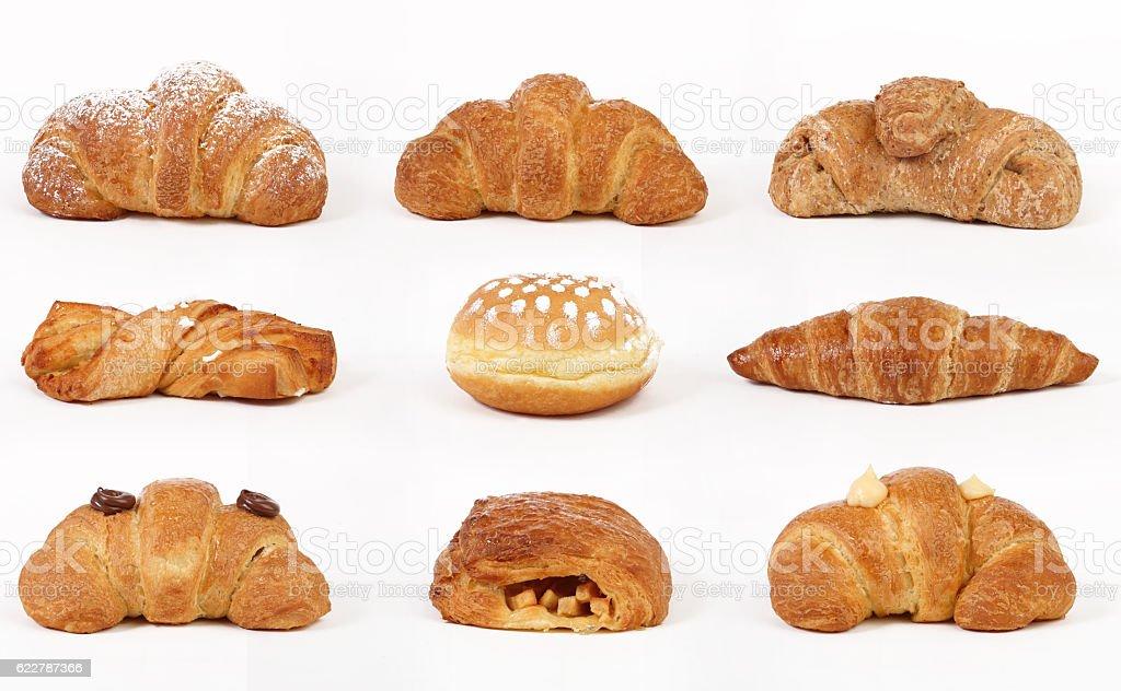 Set of croissants isolated on white background stock photo