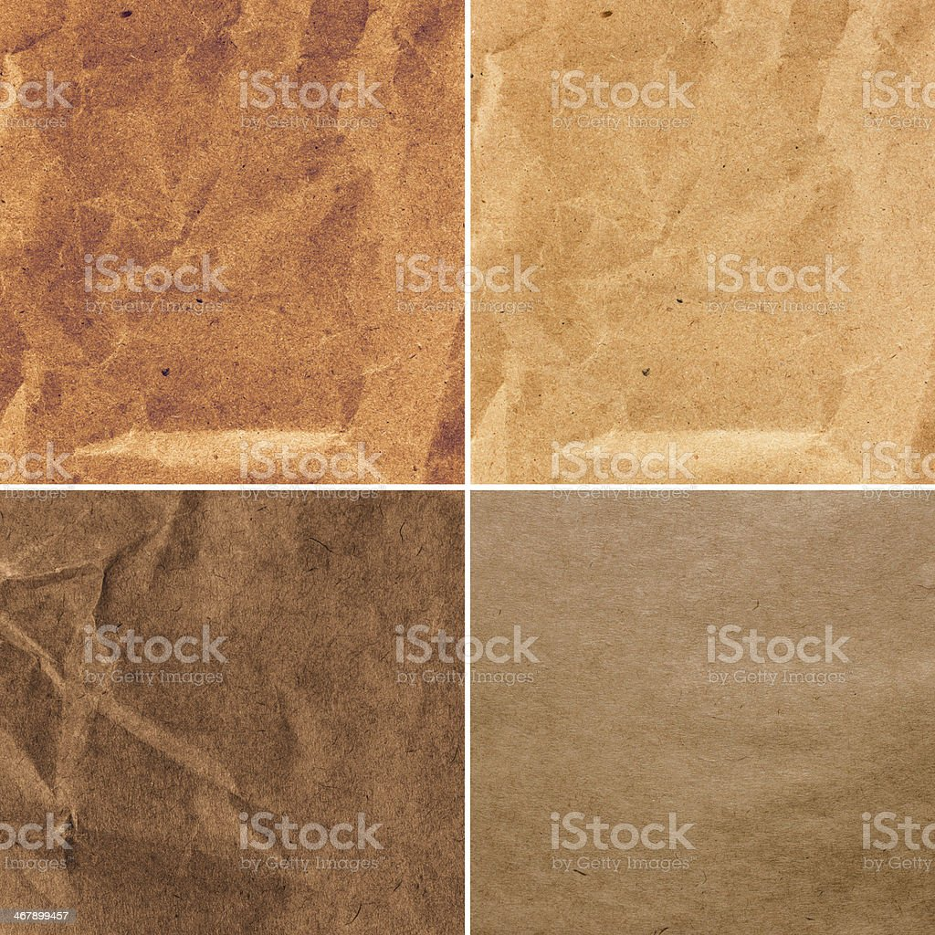 Set of  Crumpled recycled paper  texture or backgrounds in natural stock photo