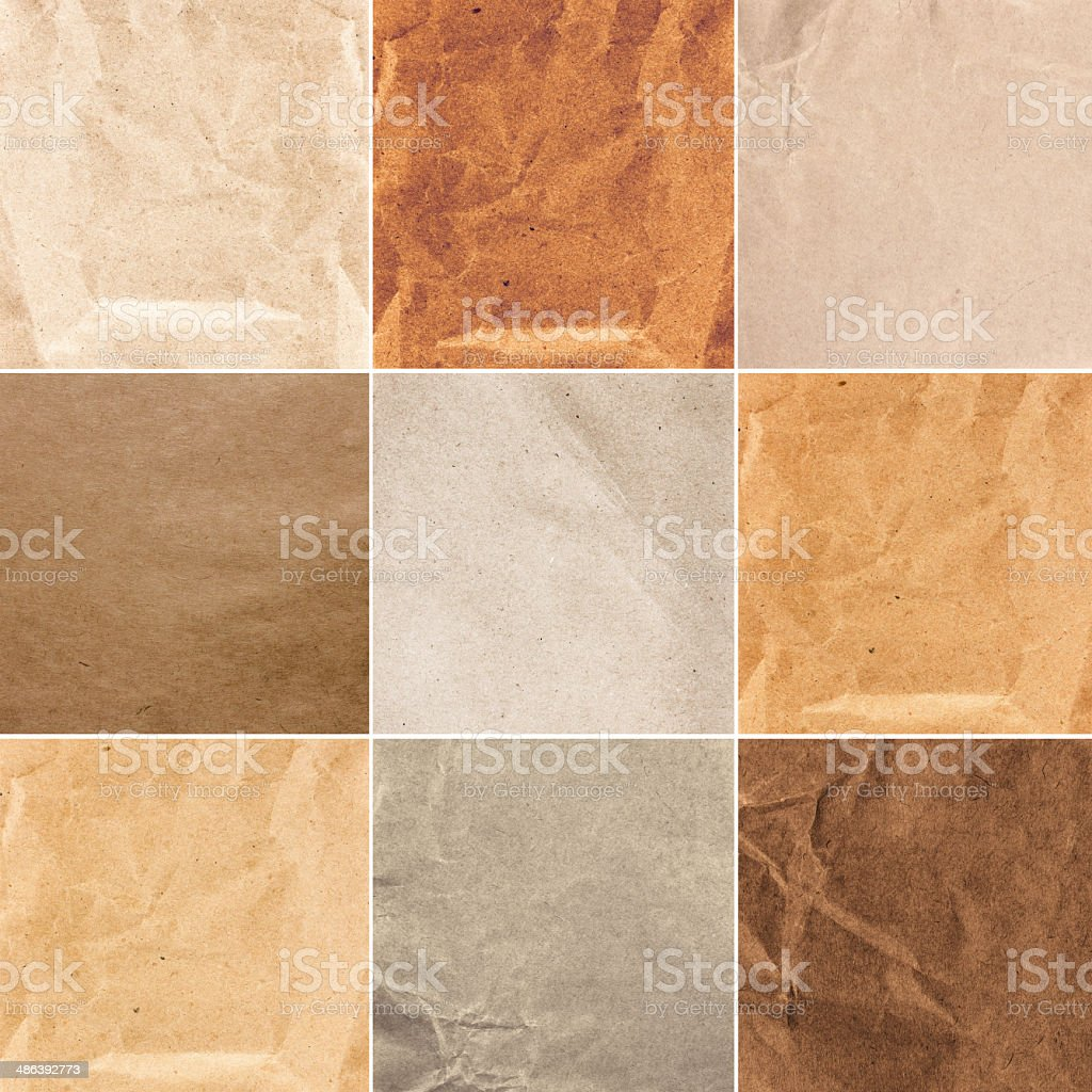 Set of Crumpled recycled papers  texture or background. Collage stock photo