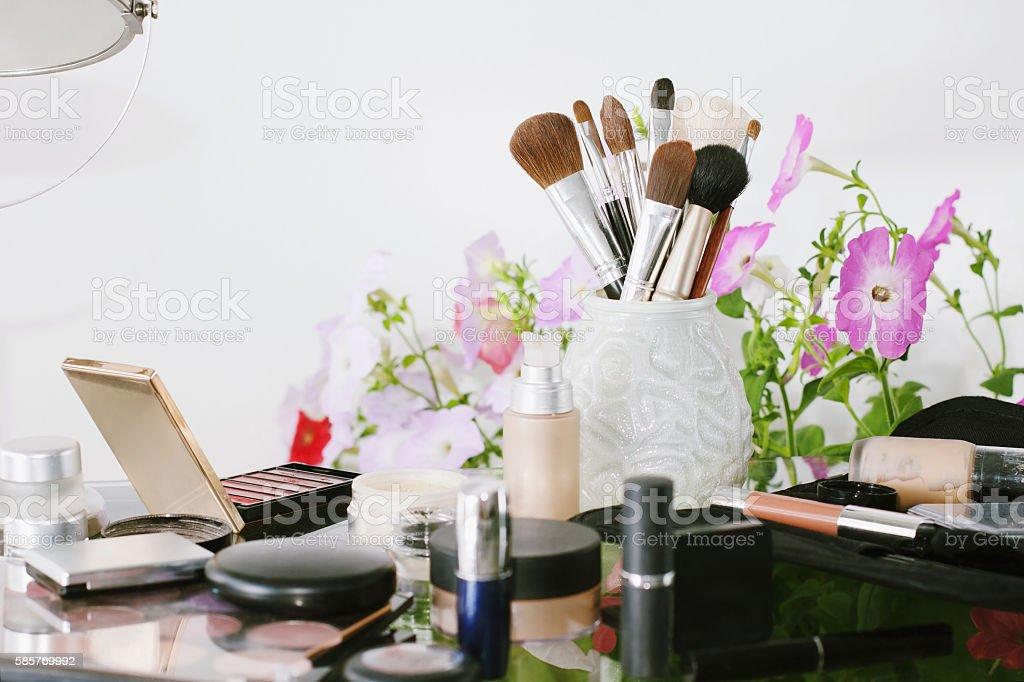 Set of decorative cosmetic . Eye shadows, blush. stock photo