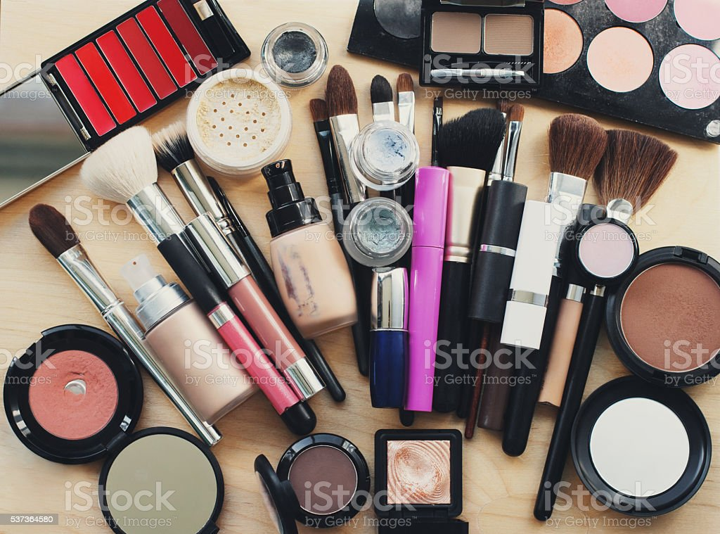 Set of decorative cosmetic. stock photo