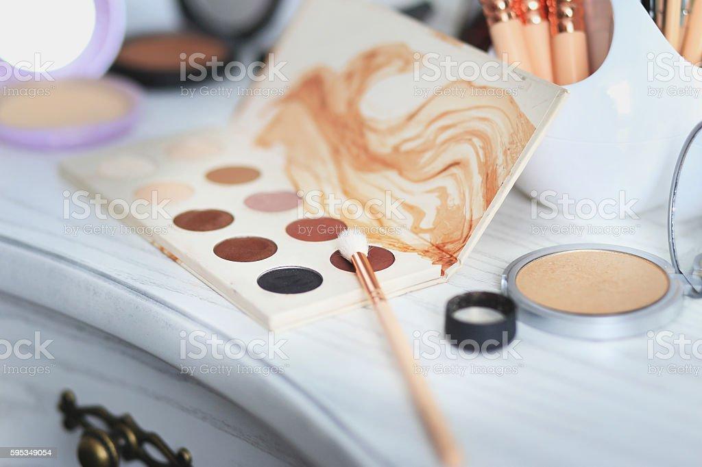 Set of decorative cosmetics on the boudoir. stock photo
