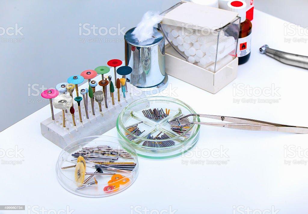 Set of dental burs and grinding wheels stock photo