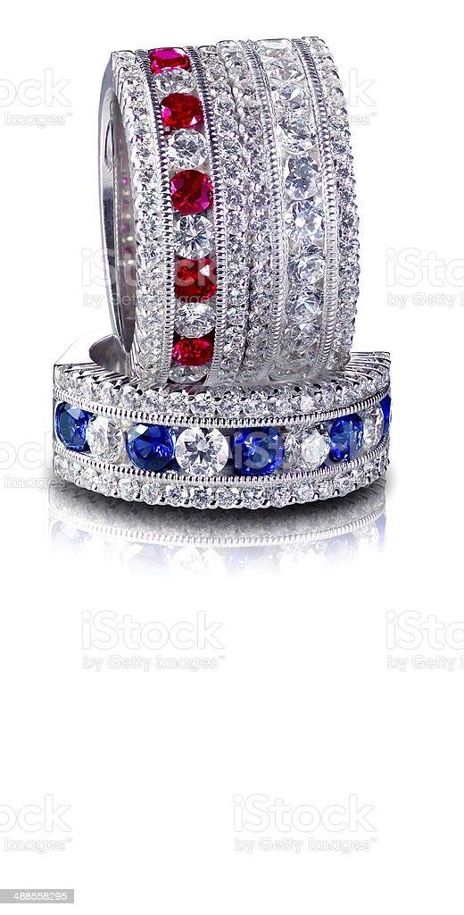 Set of Diamond and Gemstone rings Stacked stock photo