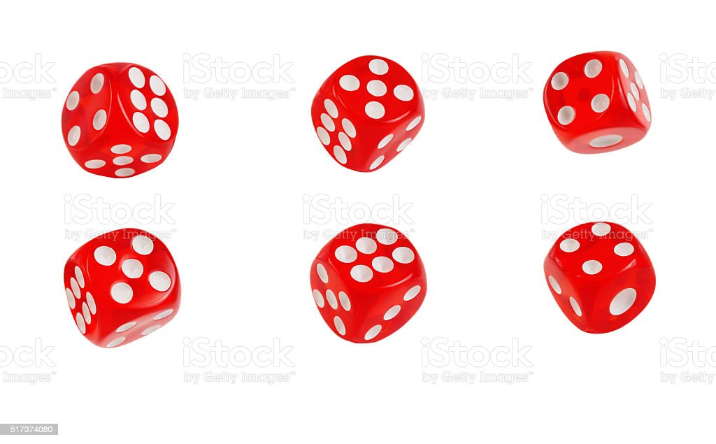 set of dice on a white background stock photo