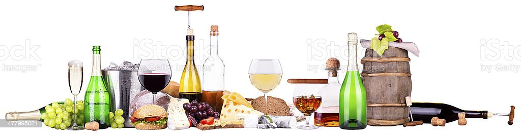 Set of different alcoholic drinks and food royalty-free stock photo