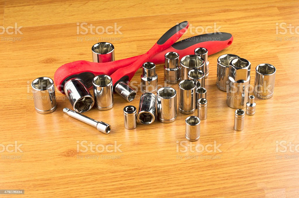 set of different attachments to tighten the bolts stock photo