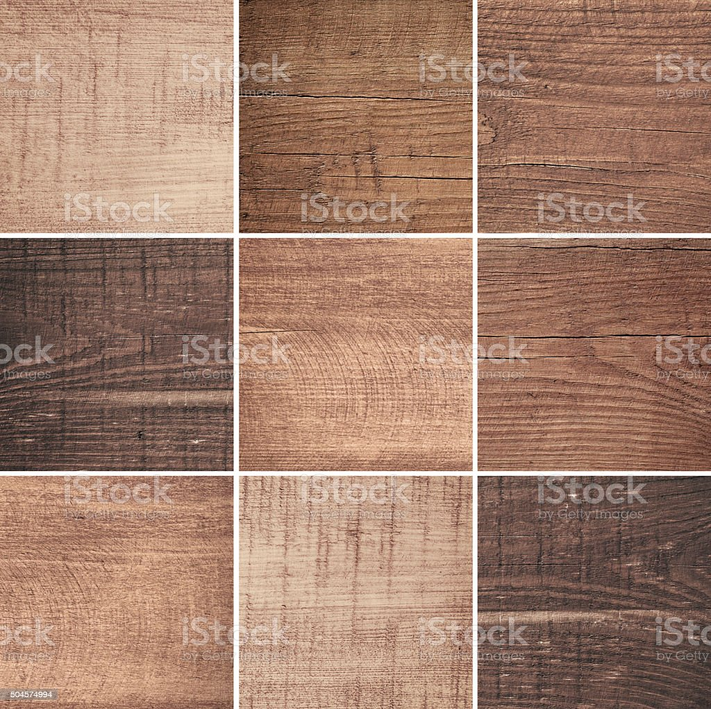 Set of different brown wood texture, cutting boards stock photo