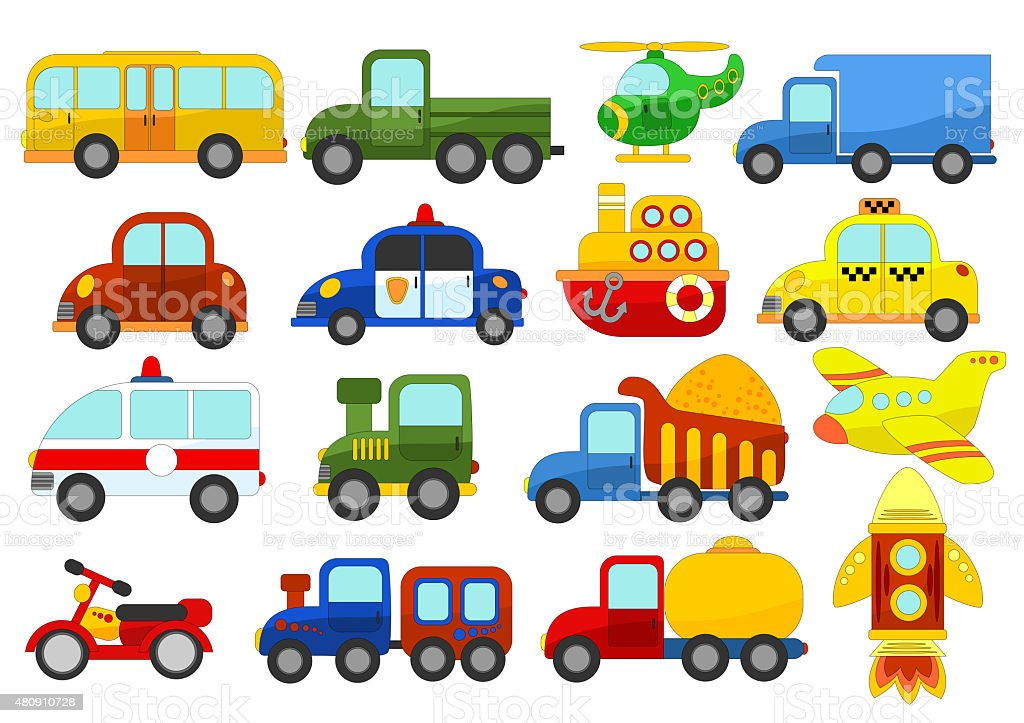 Set of different cars on white background stock photo