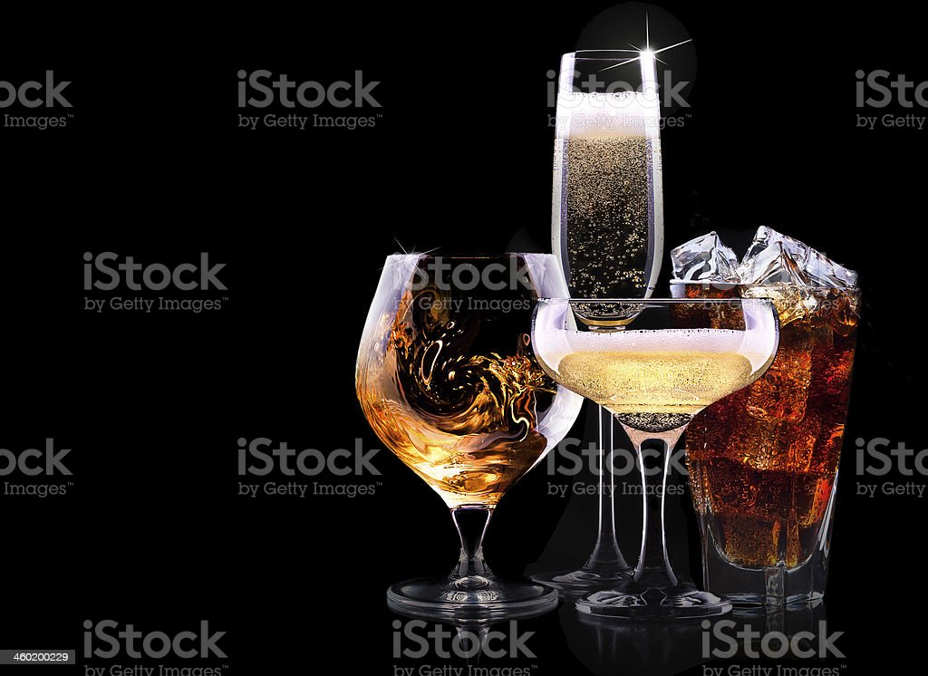 Set of different drinks isolated on a black background stock photo