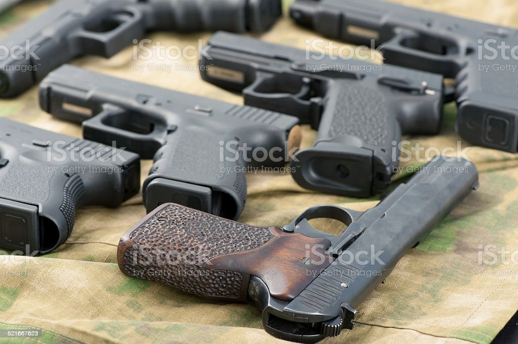 Set of different guns stock photo