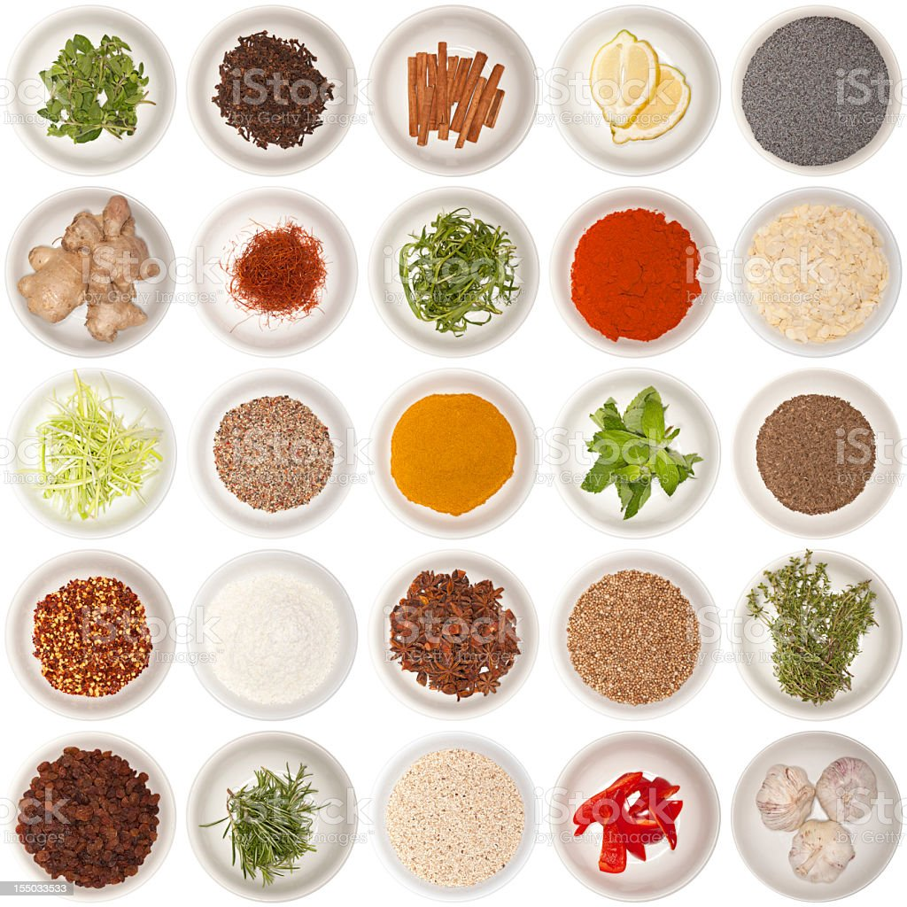 Set of different herbs and spices stock photo