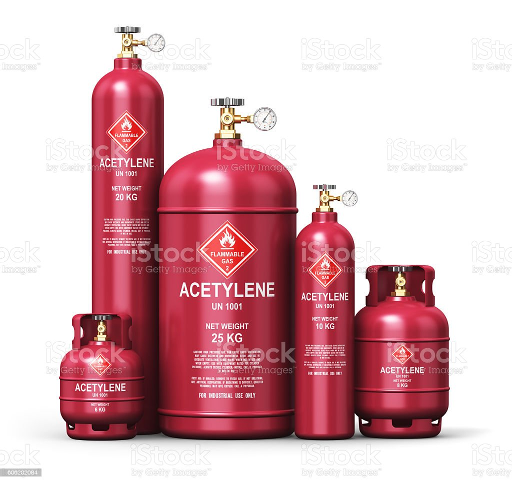 Set of different liquefied acetylene industrial gas containers stock photo