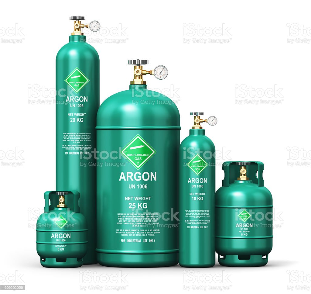 Set of different liquefied argon industrial gas containers stock photo