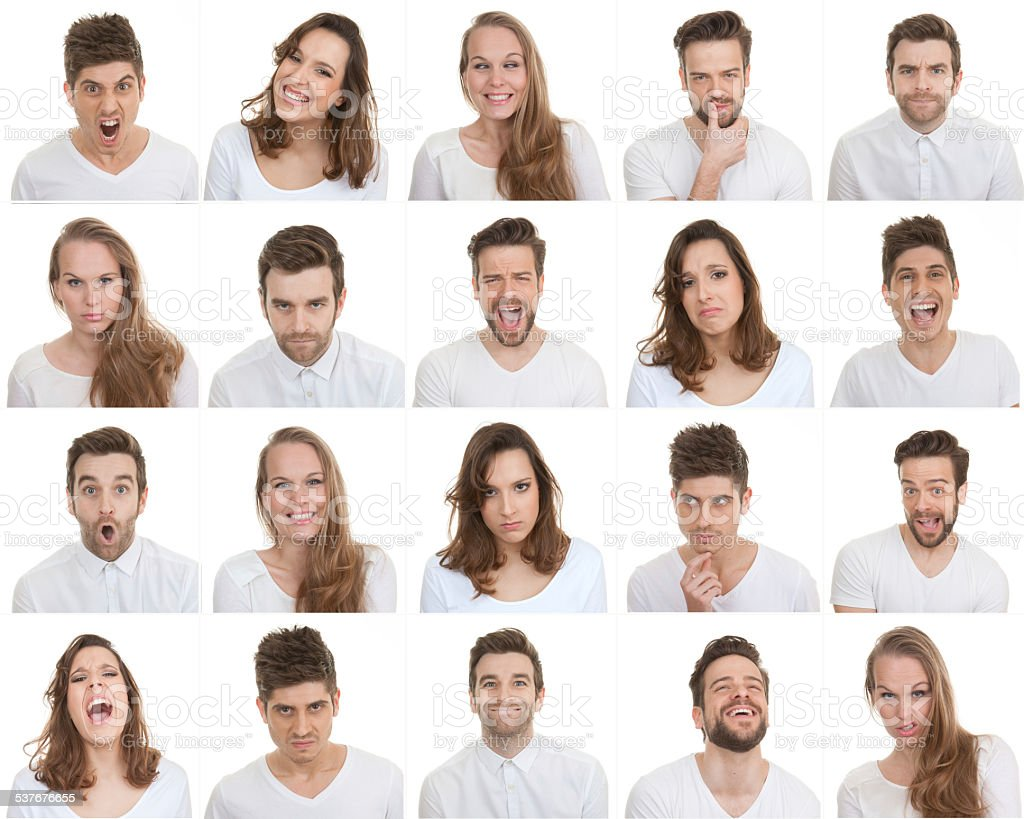 set of different male and female faces stock photo