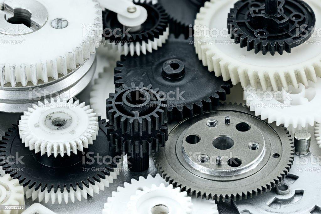 set of different metal and plastic cogwheel stock photo