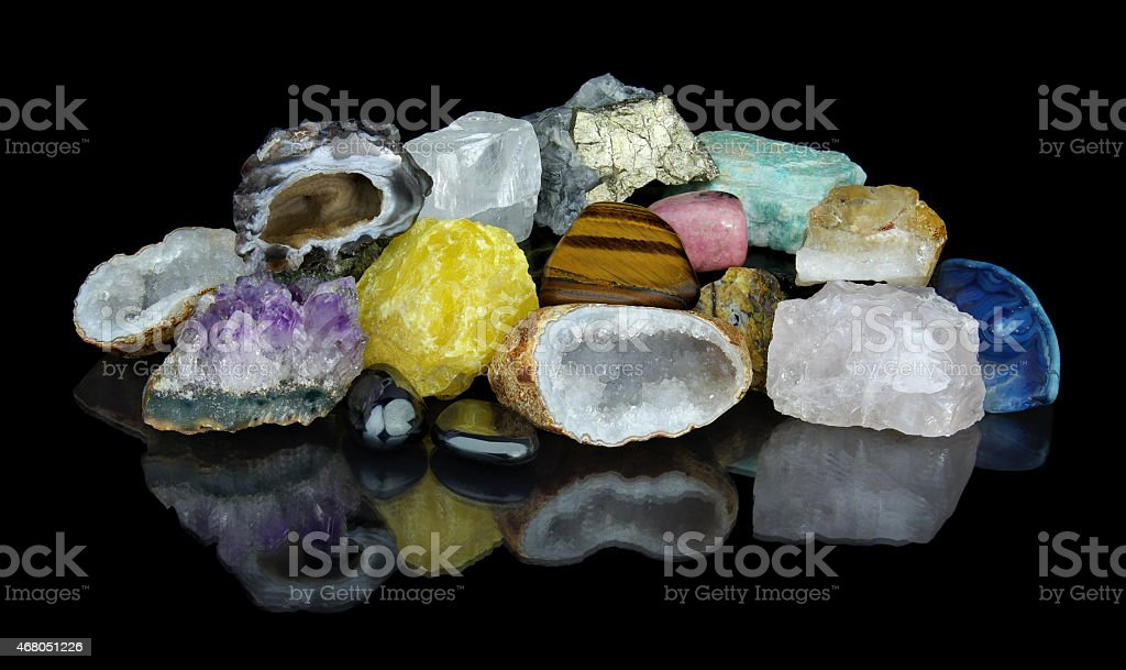 Set of different minerals stock photo