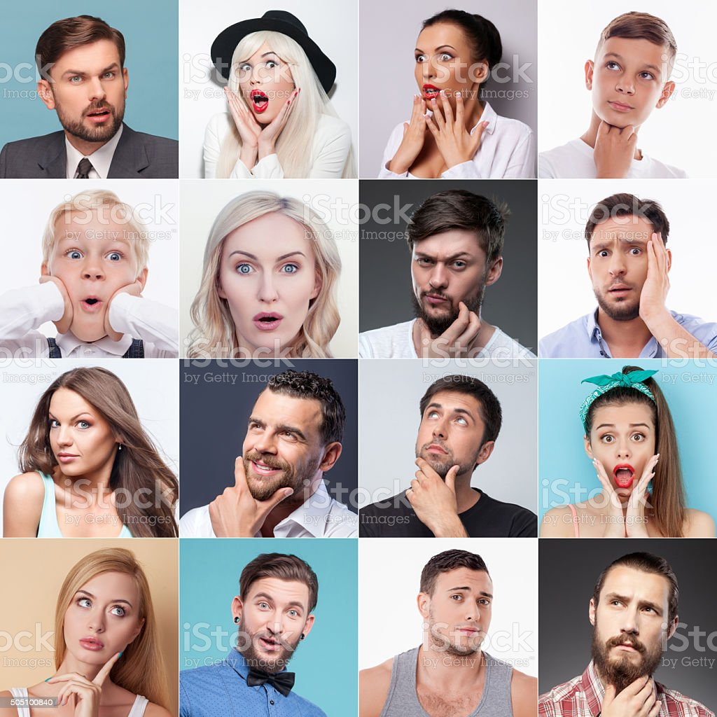 Set of different people evincing various emotions stock photo