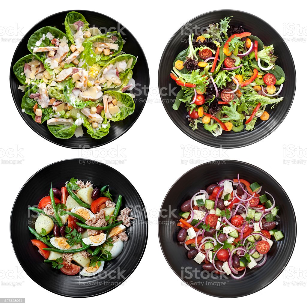 Set of Different Salads on White Background stock photo