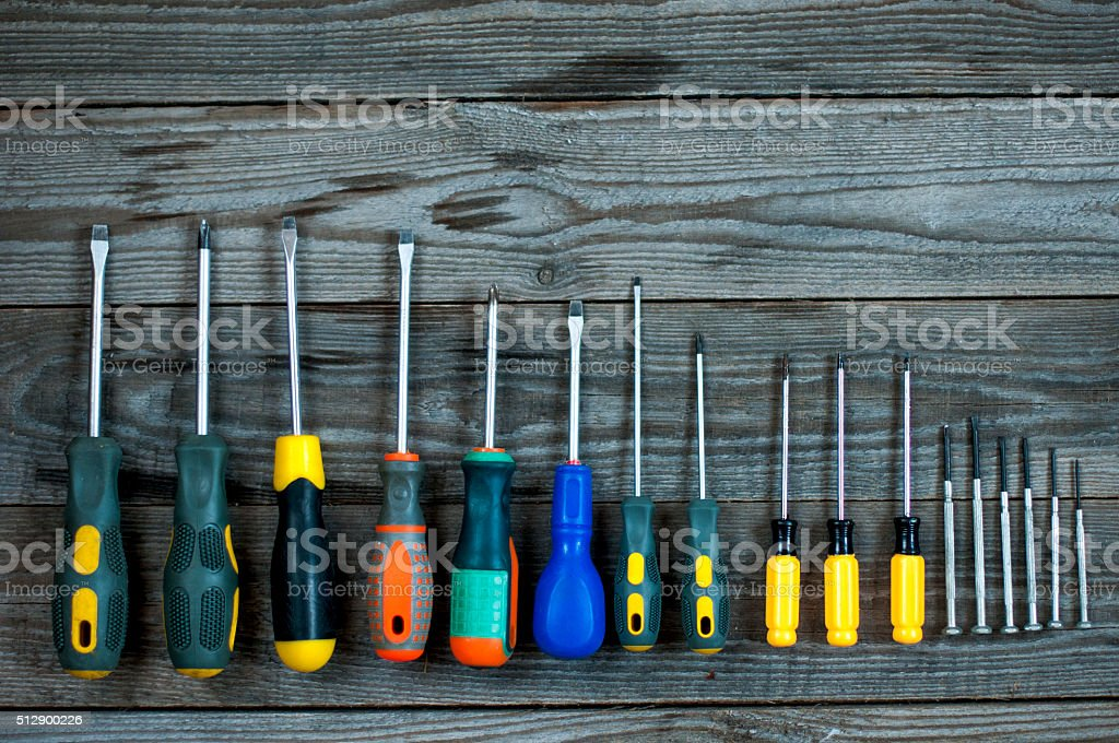 set of different  screwdrivers stock photo