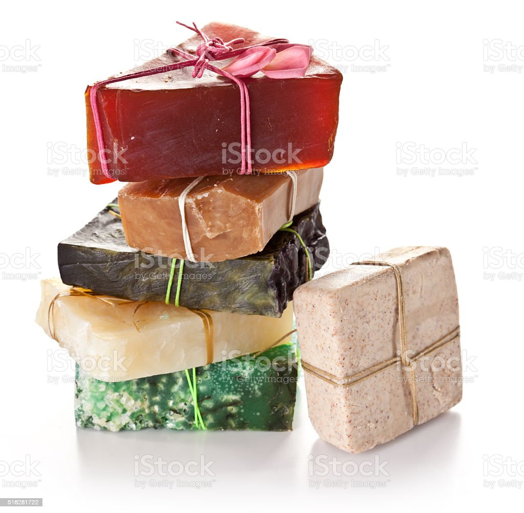 Set of different soaps. stock photo