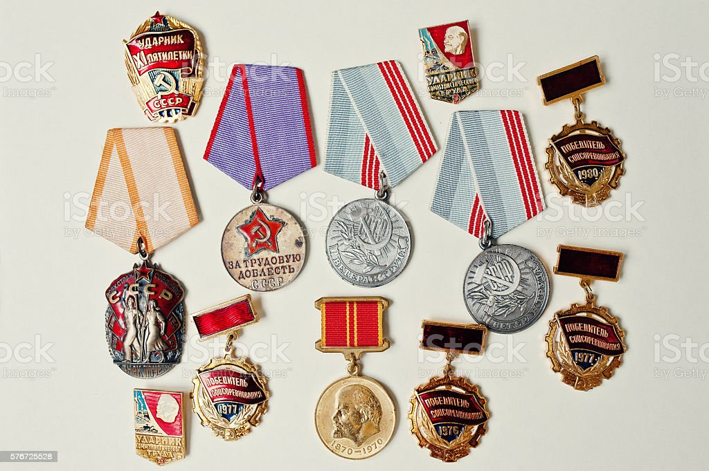 Set of different soviet medals on white background stock photo