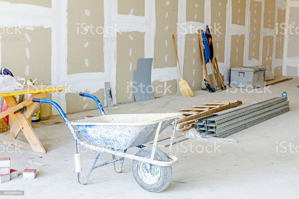 Set of different tools, goods are placed indoor. stock photo
