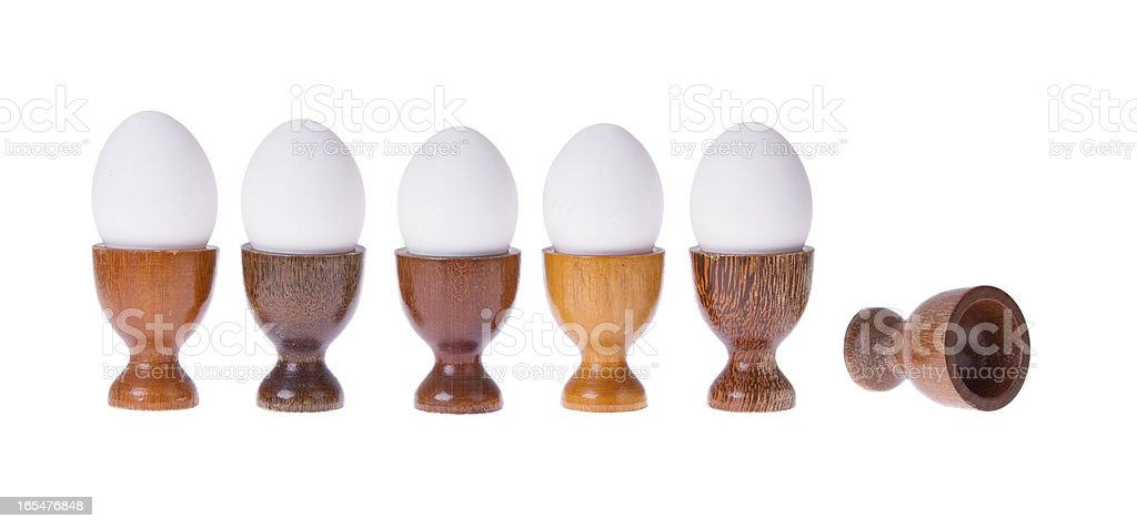Set of different  wooden egg cups royalty-free stock photo